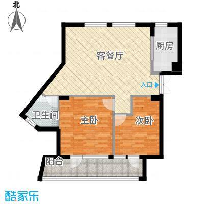 玉兰公寓89.00㎡2#楼3-16层G型户型2室1厅1卫1厨