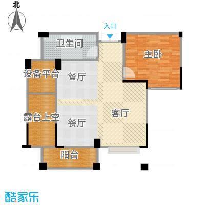 康恒悦麒美寓88.00㎡E4偶数层户型1室1厅1卫