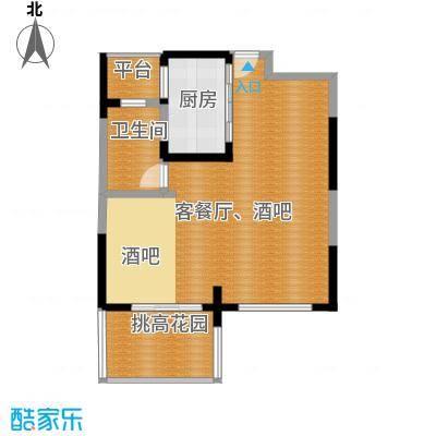 保利东湾73.21㎡四期7号楼8号楼标准层E2一层户型1卫1厨