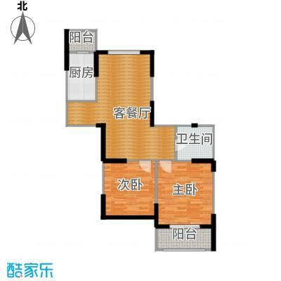 绿都金域兰庭90.00㎡二期F2户型2室1厅1卫1厨