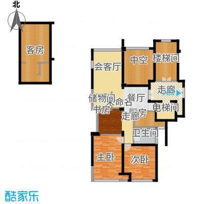 华鸿罗兰春天107.00㎡一期7#、8#楼标准层中间套和边套D1户型2室1卫1厨