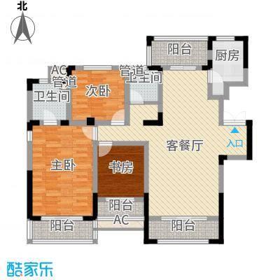 方大上上城134.42㎡一期电梯洋房J3户型3室2厅2卫1厨