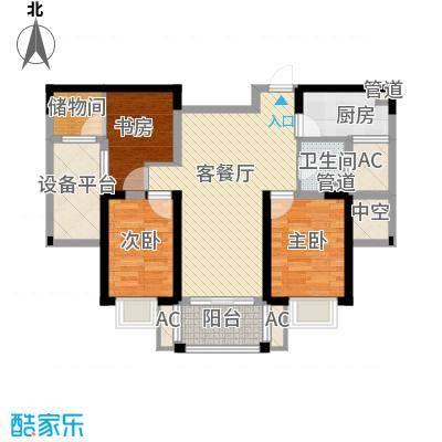 方大上上城105.09㎡二期高层D4户型3室2厅1卫1厨