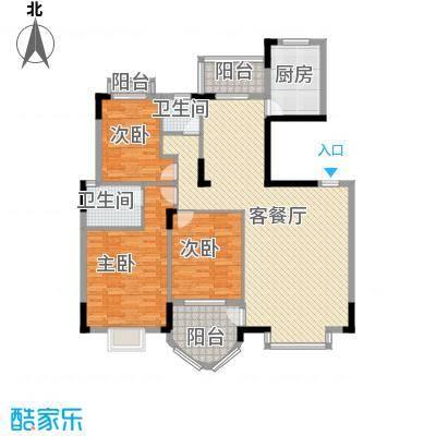 联发江岸汇景142.00㎡三期高层20#楼C户型3室2厅2卫1厨