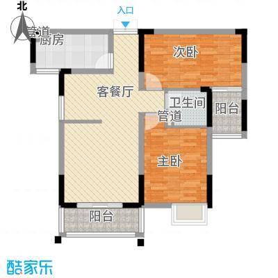 联发江岸汇景98.00㎡三期高层24、25号楼F2户型2室2厅1卫