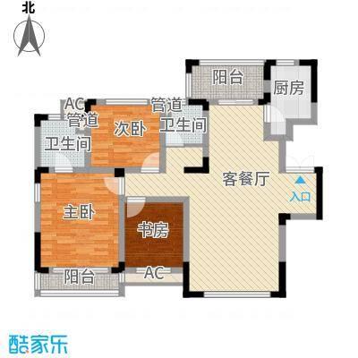 方大上上城128.23㎡一期电梯洋房J5户型3室2厅2卫1厨