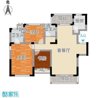 方大上上城130.71㎡一期电梯洋房J4户型3室2厅2卫1厨