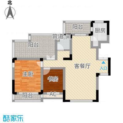 方大上上城102.70㎡一期电梯洋房J6户型2室2厅1卫1厨