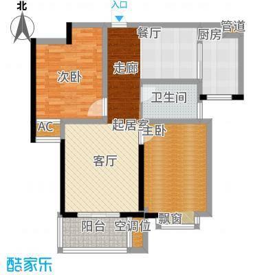 汉城国际89.26㎡四期E2户型2室2厅1卫1厨