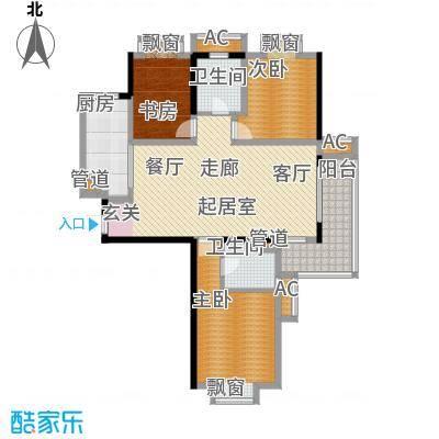 汉城国际121.45㎡四期E1户型3室2厅2卫1厨