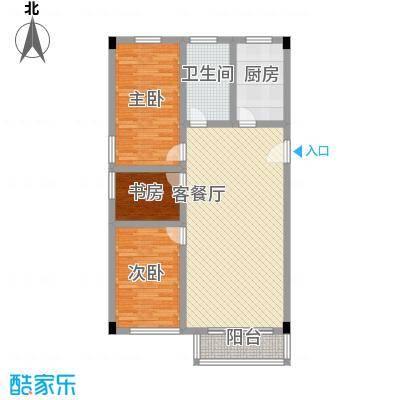 汇丰广场111.57㎡户型2室3厅1卫1厨