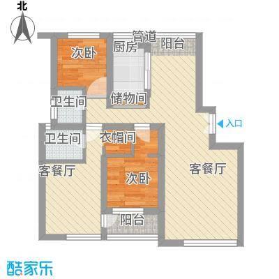 中宅70.00㎡中宅小区3室户型3室