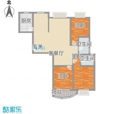 滨河家园157.61㎡二期C型户型3室2厅2卫1厨