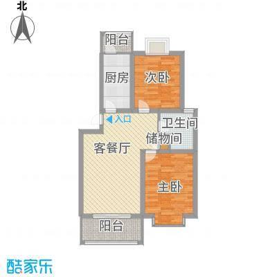 琴韵华庭90.58㎡一期15、30幢1-5层A户型2室2厅1卫1厨