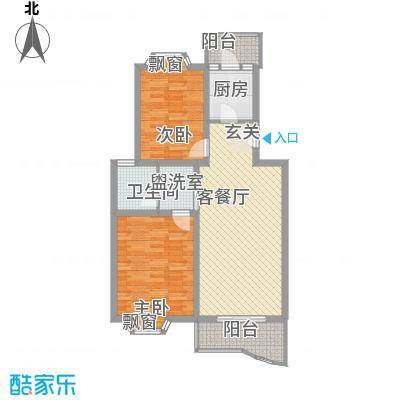 龙山名府户型图2室2厅