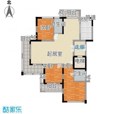 保利国际花园别墅140.00㎡一期高层B01户型3室2厅2卫1厨