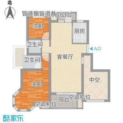 """幸福时光106.00㎡""""滨河一品""""西区高层房源B户型2室2厅2卫1厨"""