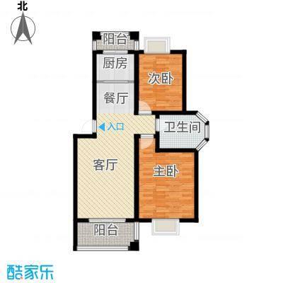 双湖明珠89.82㎡5号楼二户型2室1厅1卫1厨