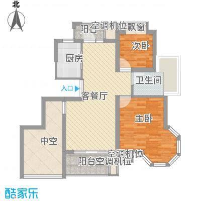 """幸福时光90.00㎡""""滨河一品""""西区高层房源A户型2室2厅1卫1厨"""