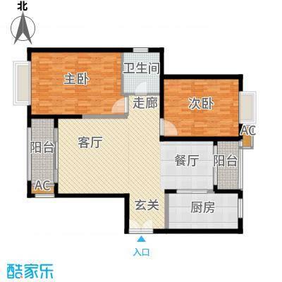 滨江豪园116.62㎡滨江豪园户型图二室二厅一厨一卫2室2厅1卫1厨户型2室2厅1卫1厨