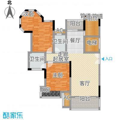 联泰香域滨江124.00㎡优品B8户型2室2厅1卫1厨
