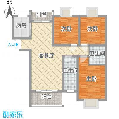 阳光枫情120.00㎡二期高层1号楼C户型3室2厅2卫1厨