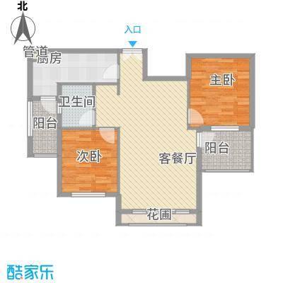 洪客隆地中海阳光91.18㎡EB偶数层两房两厅一卫91.18-91.79㎡户型2室2厅1卫1厨