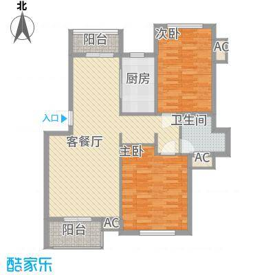 中兴和园87.58㎡B2T户型2室2厅1卫1厨