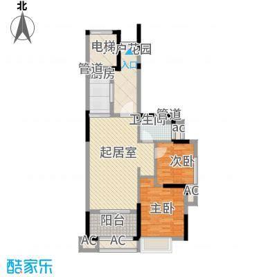 联泰香域滨江桥郡78.00㎡6#、9#、10#、15#楼B1户型2室2厅2卫1厨