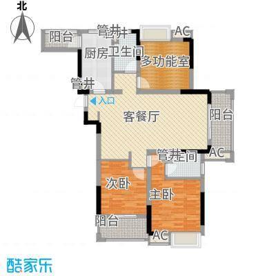 绿地新都会136.00㎡4号楼、5号楼高层E户型3室2厅2卫1厨