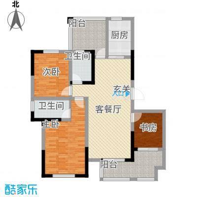 启发广场133.00㎡二期1#、2#J户型3室2厅2卫1厨
