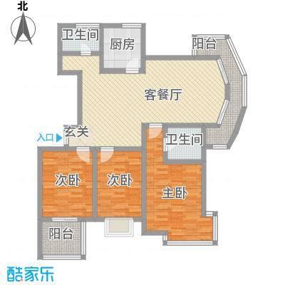 东方假日城130.00㎡高层C型户型3室2厅2卫1厨