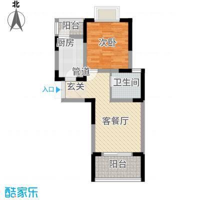 汇智・阳澄华庭63.00㎡一期3-5#楼E户型1室2厅1卫1厨