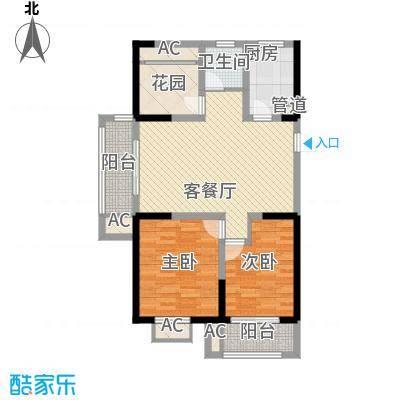 常发香城湾109.00㎡光榭8号楼A户型2室2厅1卫1厨