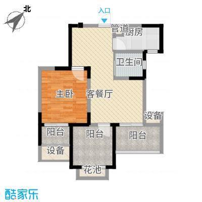 常发香城湾74.31㎡光榭B户型1室2厅1卫1厨