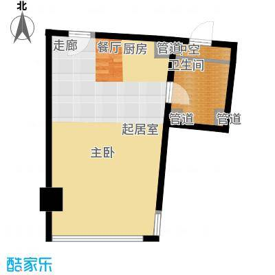 中宇国际中心54.64㎡2-19层c户型1室1厅1卫1厨