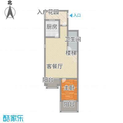 融创长滩壹号C-06首层户型1室2厅1卫1厨