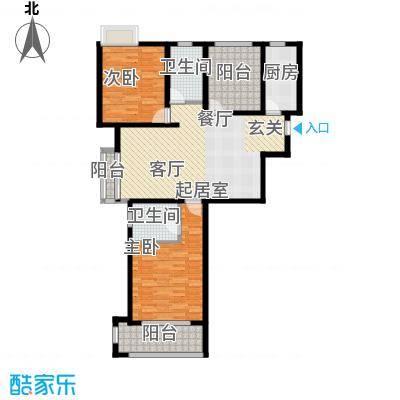 玫瑰湾109.00㎡1/2#C户型2室2厅2卫1厨
