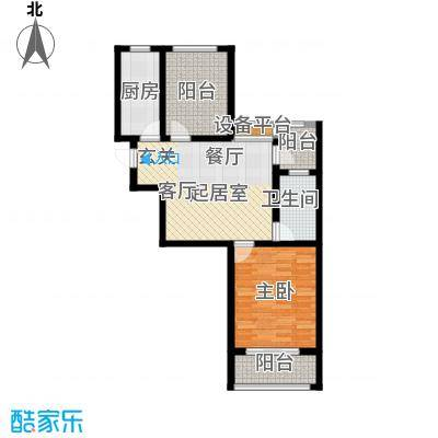 玫瑰湾75.00㎡1/2#A户型1室2厅1卫1厨