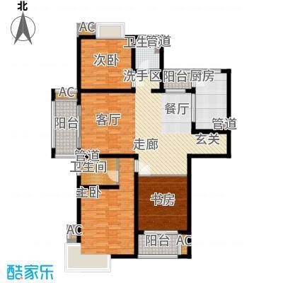 自由都市(乐活家园)127.00㎡二期15#楼A1户型3室2厅2卫1厨