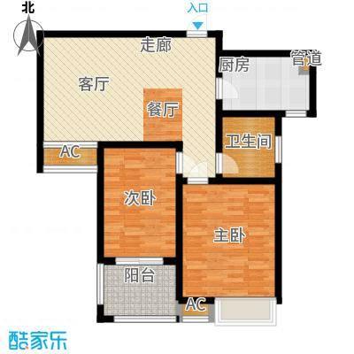 自由都市(乐活家园)87.00㎡二期15#楼A2户型2室2厅1卫1厨