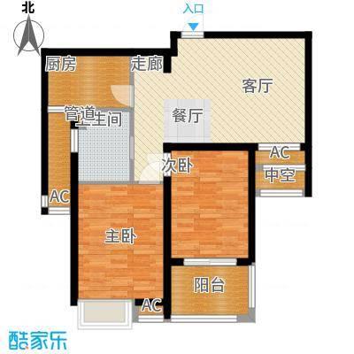自由都市(乐活家园)80.00㎡二期1#楼D2户型2室2厅1卫1厨