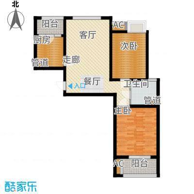 自由都市(乐活家园)88.00㎡二期18#、19#楼G3户型2室2厅1卫1厨