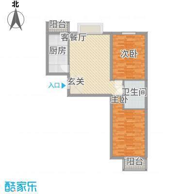 矩阵一期94.21㎡三期19#5单元户型2室2厅1卫1厨