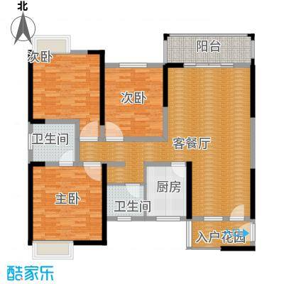 巴比伦花园111.00㎡户型3室1厅2卫1厨