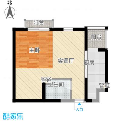 龙泽苑东区58.84㎡户型1室1厅1卫1厨