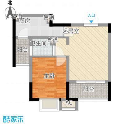 高巢62.35㎡二期B户型(已售完)户型1室1厅1卫1厨