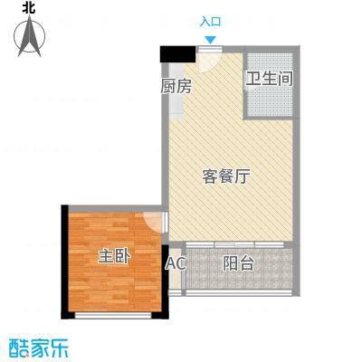 众一富东广场74.52㎡F户型1室1厅1卫1厨