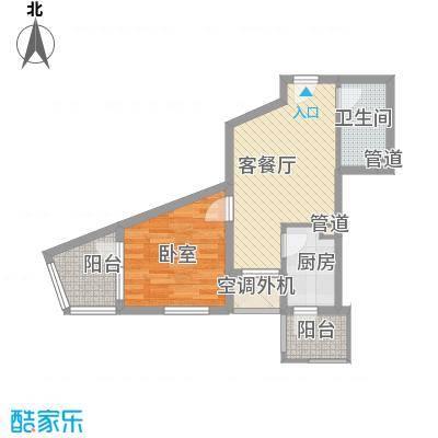 明天第一城8号院B-5a户型1室1厅1卫1厨