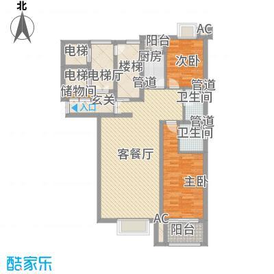 都市节奏131.10㎡22号楼3单元东户型2室2厅2卫1厨